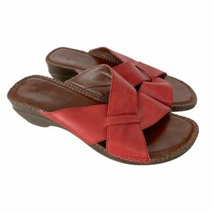 Naturalizer Red Leather Wedge Sandals 8.5
